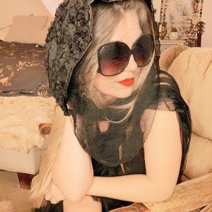 Black Head scarf funeral goth veil